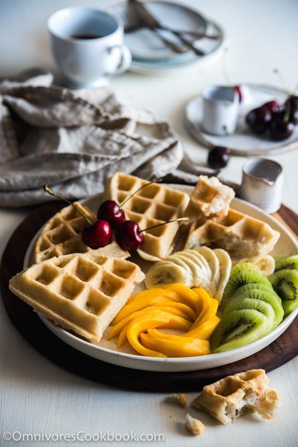 """<p>This waffle recipe is luxurious and something you can reserve for those TGIF mornings. Send your kids off with a treat. They'll thank you for it. <i>[Image credit: Omnivore's Cookbook]</i></p><p>Get the recipe from: <b><a rel=""""nofollow noopener"""" href=""""http://omnivorescookbook.com/coconut-waffles/"""" target=""""_blank"""" data-ylk=""""slk:Omnivore's Cookbook"""" class=""""link rapid-noclick-resp"""">Omnivore's Cookbook</a></b></p>"""