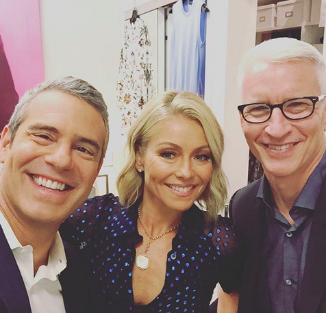 "<p>""Judging by how I'm starting it, today's gonna be a good one!"" exclaimed Bravo's main man, who could't contain his excitement to be hanging with best buds Kelly Ripa and Anderson Cooper. (Photo:<a href=""https://www.instagram.com/p/BXA0A5ljjg2/?taken-by=bravoandy"" rel=""nofollow noopener"" target=""_blank"" data-ylk=""slk:Andy Cohen via Instagram"" class=""link rapid-noclick-resp""> Andy Cohen via Instagram</a>) </p>"