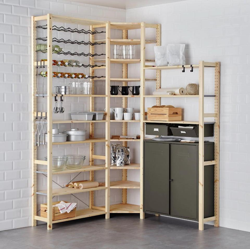 "<p>The robust arrangement of the <a href=""https://www.popsugar.com/buy/Ivar%203-Section%20Shelving%20Unit%20With%20Cabinet-447015?p_name=Ivar%203-Section%20Shelving%20Unit%20With%20Cabinet&retailer=ikea.com&price=437&evar1=casa%3Aus&evar9=46151613&evar98=https%3A%2F%2Fwww.popsugar.com%2Fhome%2Fphoto-gallery%2F46151613%2Fimage%2F46152205%2FIvar-3-Section-Shelving-Unit-Cabinet&list1=shopping%2Cikea%2Corganization%2Ckitchens%2Chome%20shopping&prop13=api&pdata=1"" rel=""nofollow noopener"" target=""_blank"" data-ylk=""slk:Ivar 3-Section Shelving Unit With Cabinet"" class=""link rapid-noclick-resp"">Ivar 3-Section Shelving Unit With Cabinet</a> ($437) opens up your kitchen space with easily accessible storage.</p>"