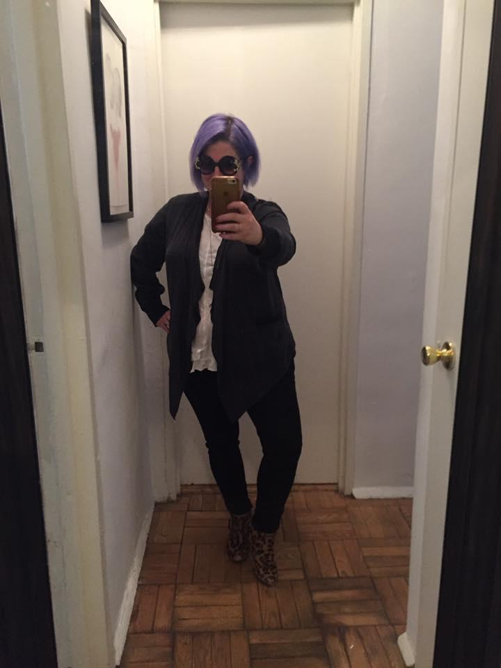 "<p>Alison Taffel Rabinowitz wore her version of a pantsuit, complete with purple hair and leopard print booties ""for all the ambitious women"" — especially the ones who have been told throughout their lives that they are ""too qualified."" (Photo: Courtesy of Alison Taffel Rabinowitz) </p>"