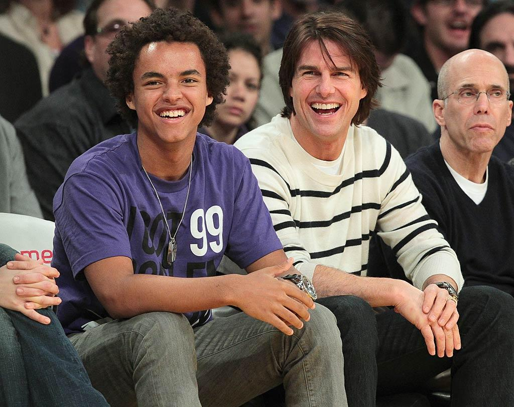 "Also enjoying some father/son bonding time at the Staples Center? Tom Cruise and his 16-year-old son Connor, (mom is Cruise's second wife, Nicole Kidman) who caught Sunday's game where the Lakers took on the New Orleans Hornets. The Lakers emerged victorious once again, beating the Hornets 102 - 84. Noel Vasquez/<a href=""http://www.gettyimages.com/"" target=""new"">GettyImages.com</a> - March 27, 2011"