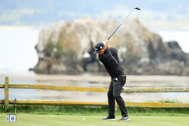 PEBBLE BEACH, CALIFORNIA - JUNE 14: Gary Woodland of the United States plays his shot from the 18th tee during the second round of the 2019 U.S. Open at Pebble Beach Golf Links on June 14, 2019 in Pebble Beach, California. (Photo by Andrew Redington/Getty Images)