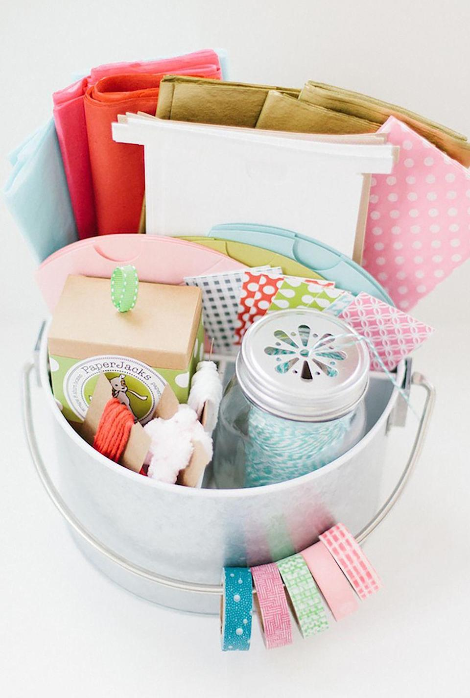 """<p>Have a crafty friend? This handy kit contains everything they need to elegantly wrap a present. </p><p><strong>Get the tutorial at <a href=""""http://www.iheartnaptime.net/gift-wrap-caddy/"""" rel=""""nofollow noopener"""" target=""""_blank"""" data-ylk=""""slk:I Heart Naptime"""" class=""""link rapid-noclick-resp"""">I Heart Naptime</a>.</strong> </p><p><strong><a class=""""link rapid-noclick-resp"""" href=""""https://go.redirectingat.com?id=74968X1596630&url=https%3A%2F%2Fwww.minted.com%2Fwrapping-paper&sref=https%3A%2F%2Fwww.countryliving.com%2Fdiy-crafts%2Ftips%2Fg645%2Fcrafty-christmas-presents-ideas%2F"""" rel=""""nofollow noopener"""" target=""""_blank"""" data-ylk=""""slk:SHOP WRAPPING PAPER"""">SHOP WRAPPING PAPER</a><br></strong></p>"""