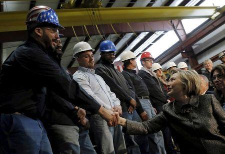 Democratic U.S. Presidential candidate Hillary Clinton greets workers at Munster Steel in Hammond