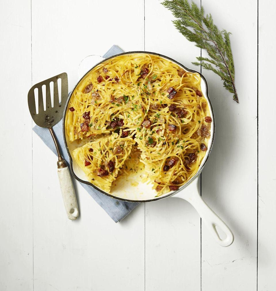 """<p>The beautiful thing about this traditional pasta dish is that it's basically destined for breakfast. Hello, it has eggs <em>and </em>bacon in it! </p><p><a href=""""https://www.goodhousekeeping.com/food-recipes/easy/a42178/spaghetti-carbonara-skillet-pie-recipe/"""" rel=""""nofollow noopener"""" target=""""_blank"""" data-ylk=""""slk:Get the recipe for Spaghetti Carbonara Skillet Pie »"""" class=""""link rapid-noclick-resp""""><em>Get the recipe for Spaghetti Carbonara Skillet Pie »</em></a></p>"""