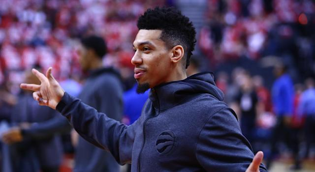 Toronto's Danny Green during warm up before Game 5 of the Raptors' first round series against the Orlando Magic. (Getty)