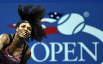 Serena Williams serves to Vitalia Diatchenko during their US Open match in New York on August 31, 2015 (AFP Photo/Jewel Samad)