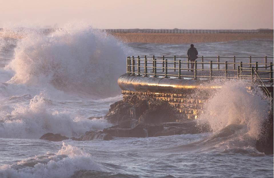 In Sunderland, Storm Alex brought rough seas to the coastline amid weather warnings from the Met Office. (SWNS)