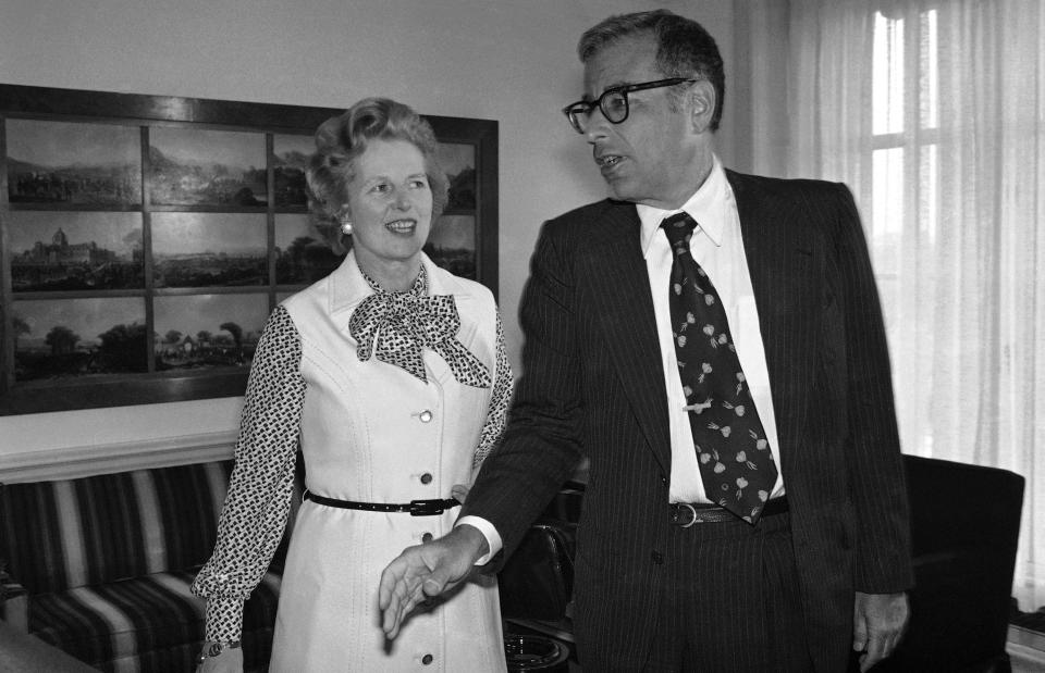 British Conservative Party leader Margaret Thatcher meets with Defense Secretary Harold Brown, Sept. 12, 1977 at the Pentagon in Washington. She arrived in Washington on Sunday. (AP Photo/Barry Thumma)