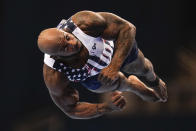 Donnell Whittenburg competes in the floor exercise during the men's U.S. Olympic Gymnastics Trials Thursday, June 24, 2021, in St. Louis. (AP Photo/Jeff Roberson)