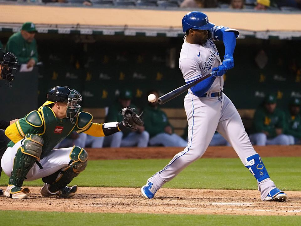 Catcher's interference is called against Oakland catcher Sean Murphy with Jorge Soler at bat.