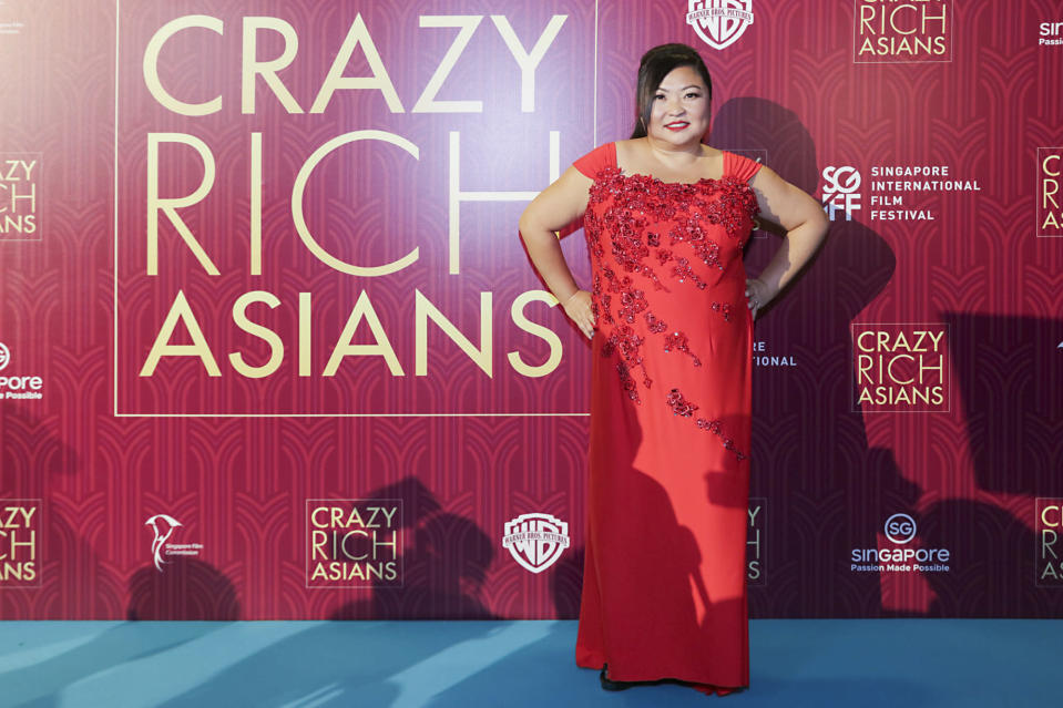 <p>Singaporean actress Selena Tan poses for photographers at the Singapore premiere of 'Crazy Rich Asians' on 21 August 2018. (PHOTO: Yahoo Lifestyle Singapore) </p>