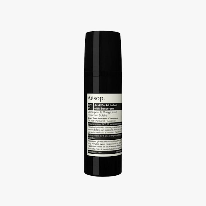 """$60, NORDSTROM. <a href=""""https://shop.nordstrom.com/s/aesop-avail-facial-lotion-with-sunscreen-spf-25/5356765?origin=category-personalizedsort&breadcrumb=Home%2FBrands%2FAesop&color=none"""" rel=""""nofollow noopener"""" target=""""_blank"""" data-ylk=""""slk:Buy Now"""" class=""""link rapid-noclick-resp"""">Buy Now</a><br>"""