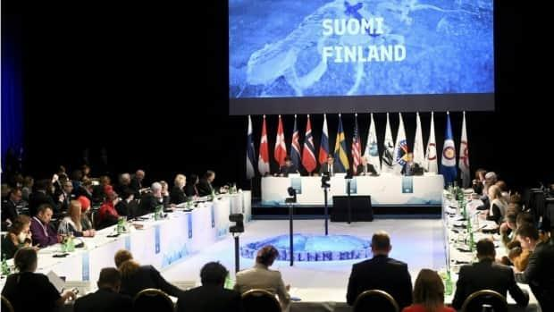 Arctic foreign ministers and Indigenous groups take their seats at the 11th Arctic Council Ministerial Meeting in Rovaniemi, Finland. (Vesa Moilanen/Lehtikuva/AP - image credit)
