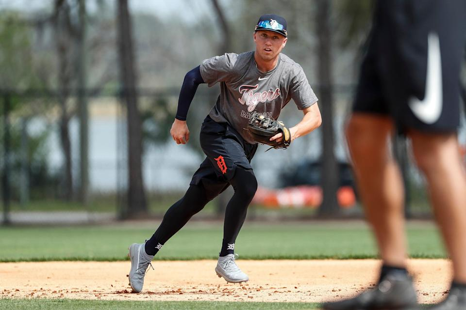 Infielder Kody Clemens practices during Detroit Tigers spring training at TigerTown in Lakeland, Fla., Thursday, Feb. 20, 2020.