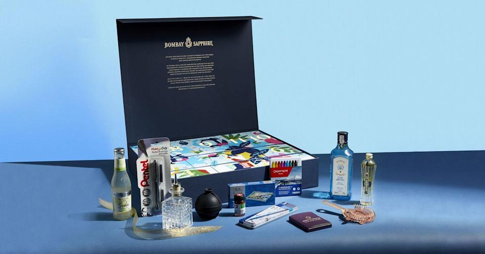 """<p>In a somewhat surprising partnership, gin behemoth Bombay Sapphire has partnered with London Graphic Centre to offer an advent calendar stocked with creative supplies and cocktail ingredients – the best of both worlds, we say. It's designed to stir your creativity between 25 December and 5 January, when many of us are barely stirring on the sofa. Available from 17 November. £75, <a href=""""https://www.londongraphics.co.uk/bombay-sapphire-12-days-of-creativity-calendar"""" rel=""""nofollow noopener"""" target=""""_blank"""" data-ylk=""""slk:londongraphics.co.uk"""" class=""""link rapid-noclick-resp"""">londongraphics.co.uk</a></p>"""