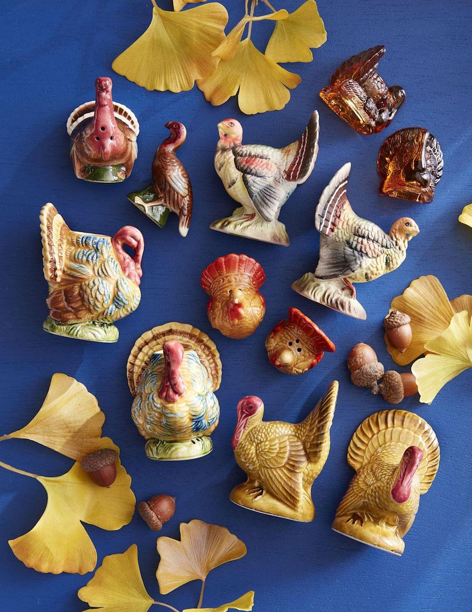 <p>Feather your table with these turkey-shaped collections. Add fall-colored taper candles for a beautiful centerpiece. </p>