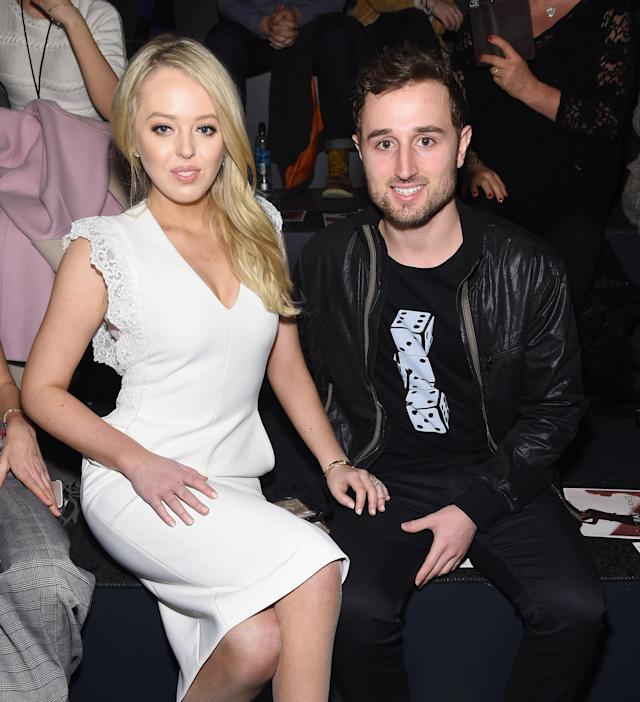 Tiffany Trump and Ross Mechanic, at a NYFW event in February 2017, have reportedly split. (Photo: Jamie McCarthy/Getty Images for Taoray Wang)