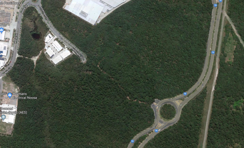A satellite map next to Noosa Civic shopping centre before the fire trails were expanded..