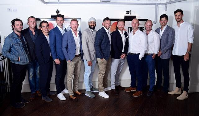 Alastair Cook, second from right, appeared at the premiere of The Edge documentary (Ian West/PA)