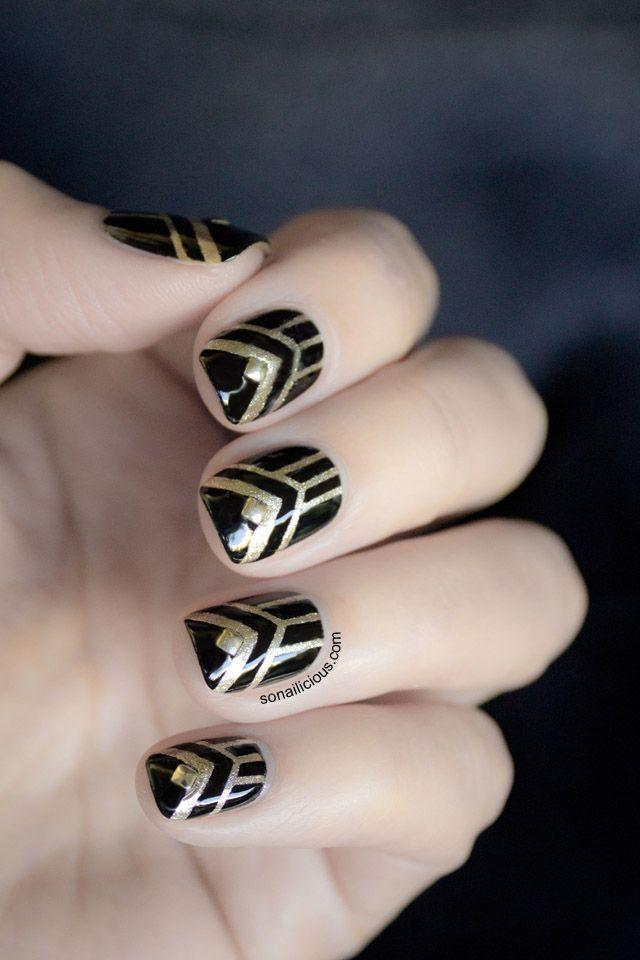 "<p>Take a trip to the Roaring Twenties with these glitzy black and gold nails, studs and all. (Psst, don't forget <a href=""https://www.goodhousekeeping.com/holidays/halloween-ideas/g21992171/great-gatsby-halloween-costumes/"" rel=""nofollow noopener"" target=""_blank"" data-ylk=""slk:your flapper costume"" class=""link rapid-noclick-resp"">your flapper costume</a>!)</p><p><a class=""link rapid-noclick-resp"" href=""https://www.amazon.com/dp/B075M5KPXR/ref=sspa_dk_detail_1?tag=syn-yahoo-20&ascsubtag=%5Bartid%7C10055.g.1421%5Bsrc%7Cyahoo-us"" rel=""nofollow noopener"" target=""_blank"" data-ylk=""slk:SHOP NAIL ART STUDS"">SHOP NAIL ART STUDS</a> </p>"