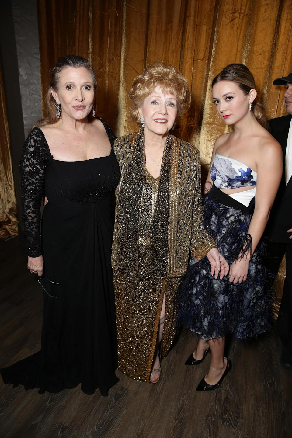 Carrie Fisher, Debbie Reynolds and Billie Catherine Lourd seen at 21st Annual SAG Awards Ceremony at the Shrine Auditorium on Sunday, January 25, 2015, in Los Angeles, CA. (Photo by Eric Charbonneau/Invision for People/AP Images)