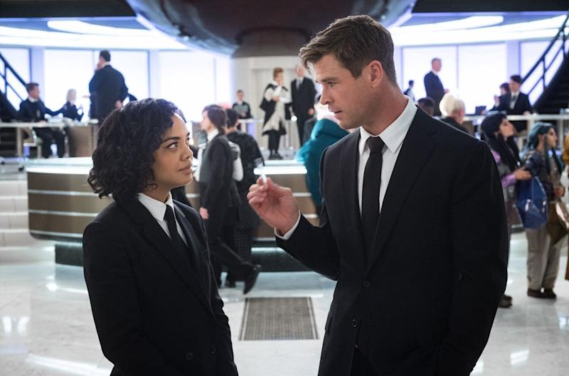 Tessa Thompson and Chris Hemsworth in comedy reboot 'Men in Black: International'. (Credit: Sony)