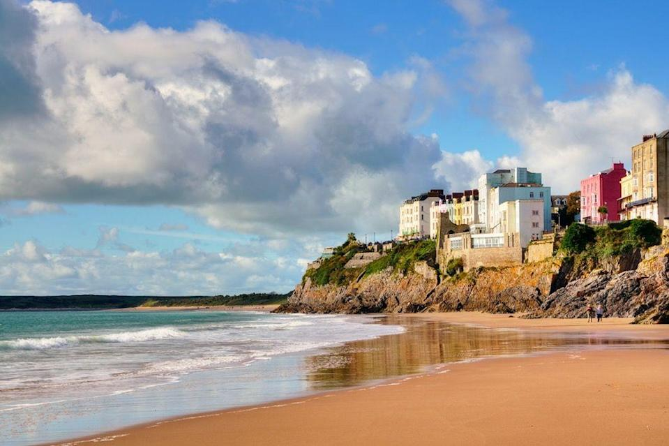 "<p>Backed by low cliffs, what makes Castle Beach so special is the fact it disappears at high tide! At low tide, it's gorgeous - just 150m wide, the cove is picturesque, thanks to the ancient ruins of Tenby Castle above it. </p><p><a class=""link rapid-noclick-resp"" href=""https://www.airbnb.co.uk/"" rel=""nofollow noopener"" target=""_blank"" data-ylk=""slk:FIND AN AIRBNB"">FIND AN AIRBNB</a></p>"