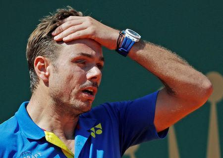 Tennis - Monte Carlo Masters - Monaco, 20/04/2017. Stan Wawrinka of Switzerland reacts during his match against Pablo Cuevas of Uruguay. REUTERS/Eric Gaillard