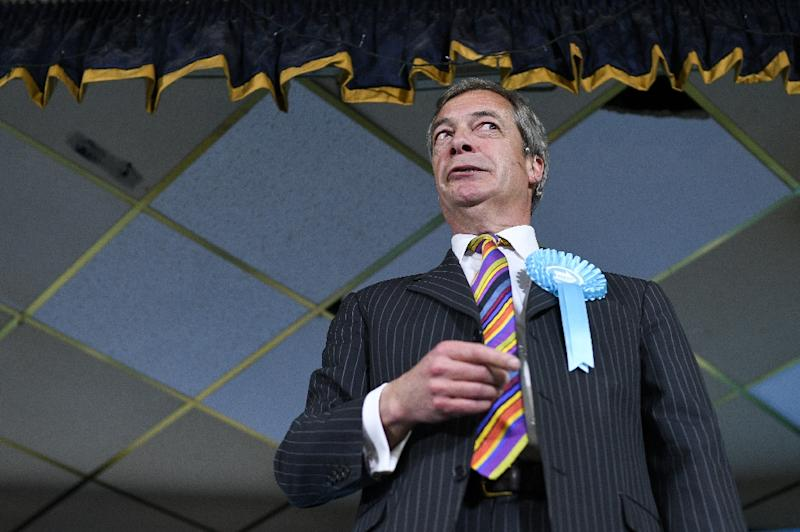 The latest survey put eurosceptic figurehead Nigel Farage's single-issue Brexit Party way ahead of the main opposition Labour Party the ruling Conservatives (AFP Photo/Oli SCARFF)