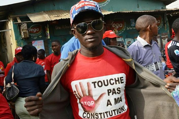 A protestor at a January rally wears a T-shirt reading 'Don't Touch My Constitution!' Conde's proposal to change the constitution has been hugely controversial (AFP Photo/CELLOU BINANI)