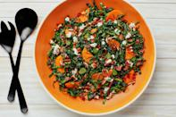 """This kale salad, made with salty feta and bits of crisp prosciutto, is the perfect way to celebrate persimmons. <a href=""""https://www.epicurious.com/recipes/food/views/kale-salad-with-persimmons-feta-and-crisp-prosciutto?mbid=synd_yahoo_rss"""" rel=""""nofollow noopener"""" target=""""_blank"""" data-ylk=""""slk:See recipe."""" class=""""link rapid-noclick-resp"""">See recipe.</a>"""