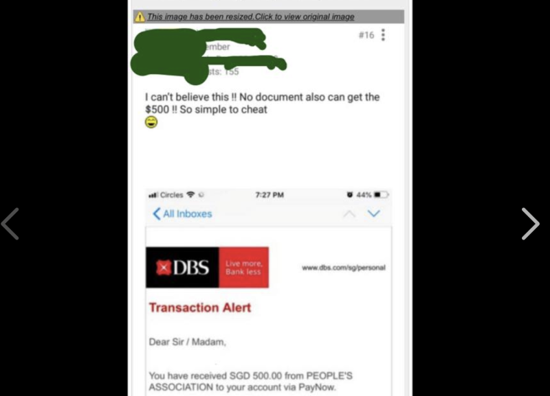 "A post by an individual who allegedly claimed that it was easy to ""cheat"" to get the Temporary Relief Fund. (SCREENSHOT: desmondtslee/Facebook)"