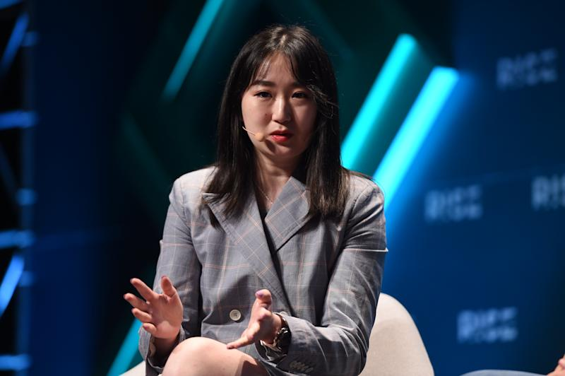 HONG KONG , Hong Kong - 10 July 2019; Lucy Liu, Co-founder, Airwallex, on MoneyConf Stage during day two of RISE 2019 at the Hong Kong Convention and Exhibition Centre in Hong Kong. (Photo By Cody Glenn/Sportsfile via Getty Images)