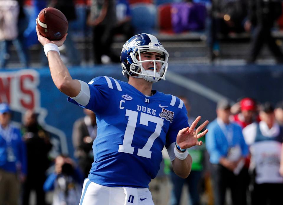 Duke quarterback Daniel Jones passes against Temple in the Independence Bowl. (AP Photo)