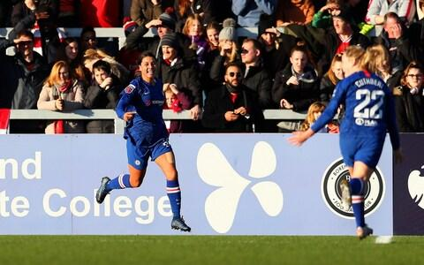 Sam Kerr of Chelsea celebrates after scoring his team's second goal during the Barclays FA Women's Super League match between Arsenal and Chelsea at Meadow Park on January 19, 2020 in Borehamwood, United Kingdom - Credit: Getty Images