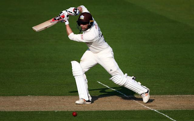 <span>Mark Stoneman drives to the cover boundary</span> <span>Credit: GETTY IMAGES </span>