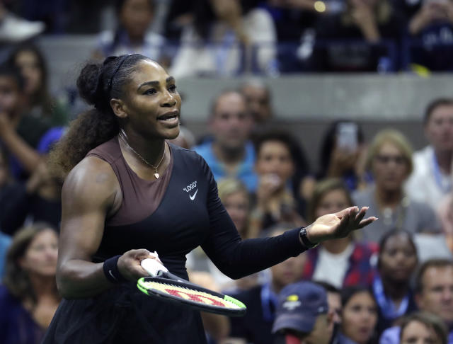 "Virgil Abloh designed <a class=""link rapid-noclick-resp"" href=""/olympics/rio-2016/a/1132744/"" data-ylk=""slk:Serena Williams"">Serena Williams</a>' U.S. Open attire, which features quotations just as her Woman of the Year cover does. (AP Photo/Julio Cortez)"