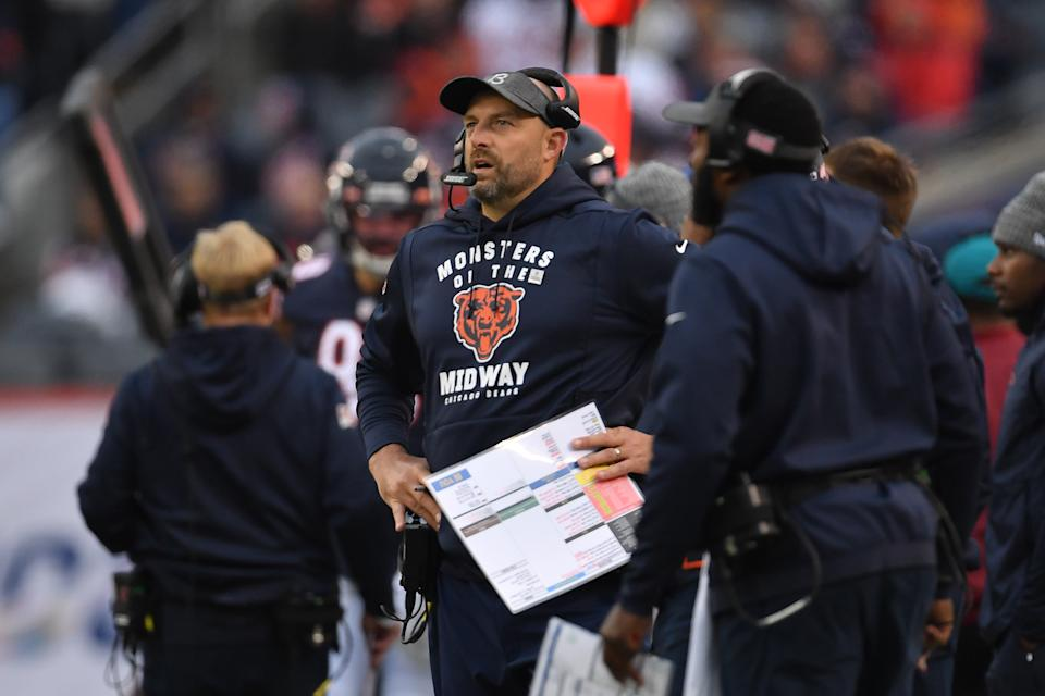 Chicago Bears head coach Matt Nagy wasn't happy after his team lost to the Saints. (Getty Images)