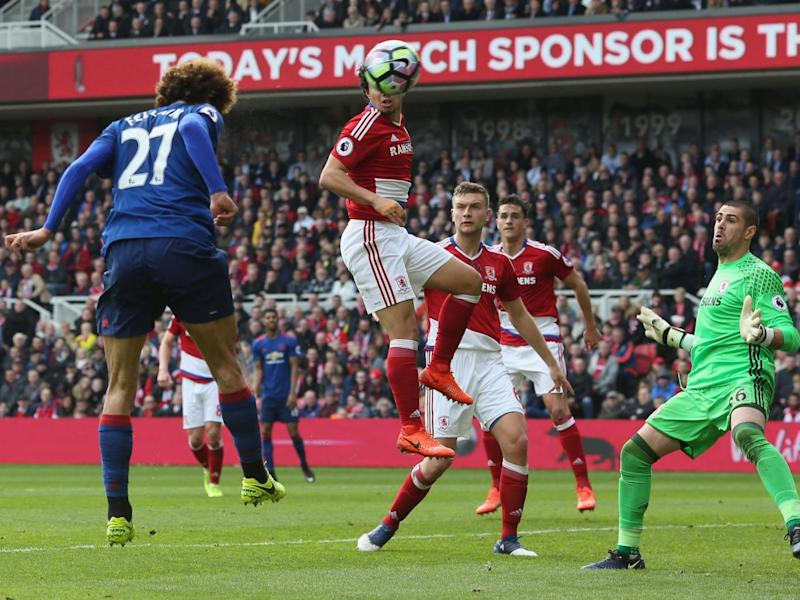 Fellaini put his side in the lead with a towering header (Getty )