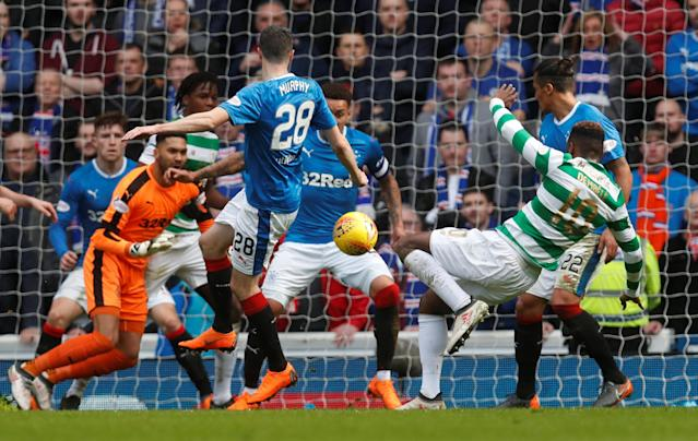 Soccer Football - Scottish Premiership - Rangers vs Celtic - Ibrox, Glasgow, Britain - March 11, 2018 Rangers' Bruno Alves in action with Celtic's Moussa Dembele REUTERS/Russell Cheyne