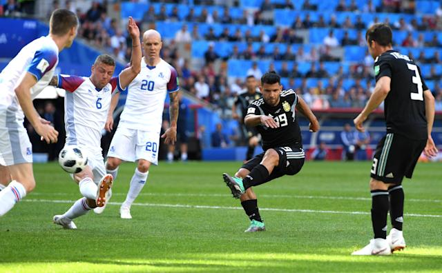 <p>Sergio Aguero scores his first World Cup goal to put Argentina into the lead </p>