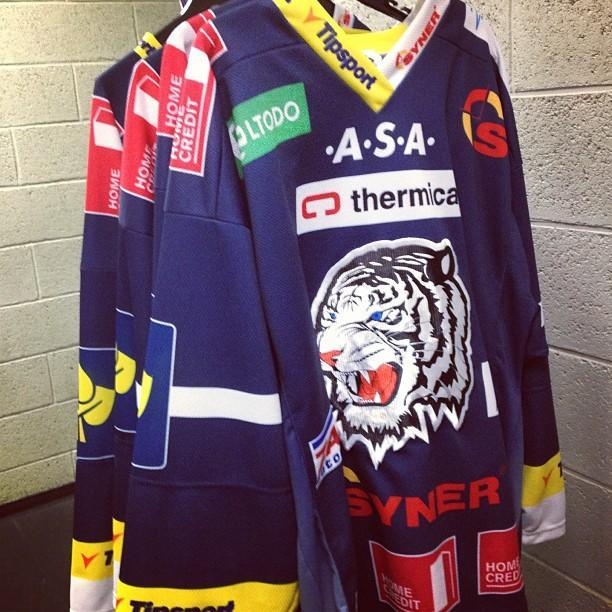 Jerseys for Czech League's Liberec White Tigers. (#NickInEurope)