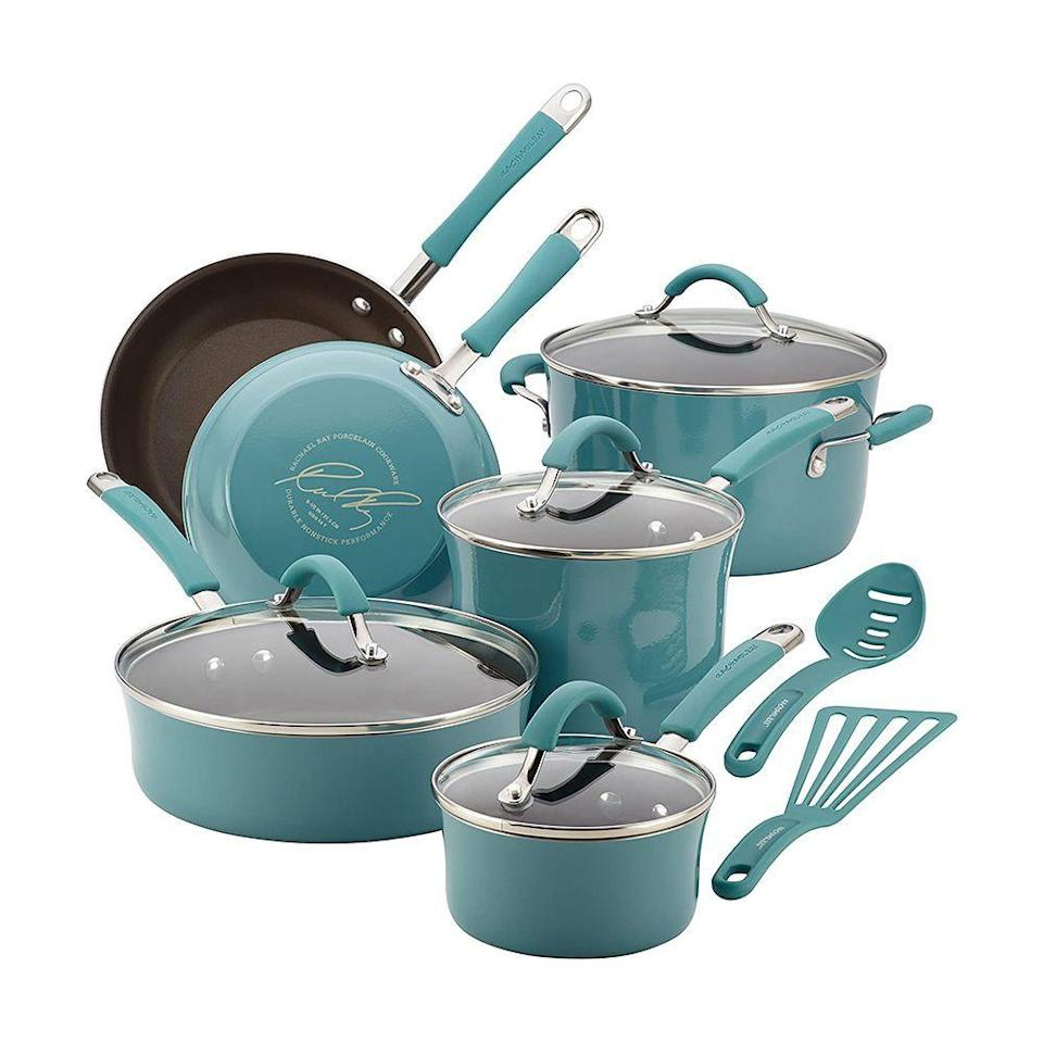 """<p><strong>Rachael Ray</strong></p><p>amazon.com</p><p><strong>$159.99</strong></p><p><a href=""""https://www.amazon.com/dp/B00JYHNNYK?tag=syn-yahoo-20&ascsubtag=%5Bartid%7C2089.g.3486%5Bsrc%7Cyahoo-us"""" rel=""""nofollow noopener"""" target=""""_blank"""" data-ylk=""""slk:Shop Now"""" class=""""link rapid-noclick-resp"""">Shop Now</a></p><p>You'll actually look forward to cooking dinner with Rachael Ray's Nonstick Cookware Set. It includes 1-quart and 3-quart saucepans with lids, a 6-quart stockpot with lid, 8.5-inch and 10-inch frying pans, a 3-quart sauté pan with lid, a slotted turner, and a spoon. Plus, it comes in every color of the rainbow to go with your kitchen decor.</p>"""