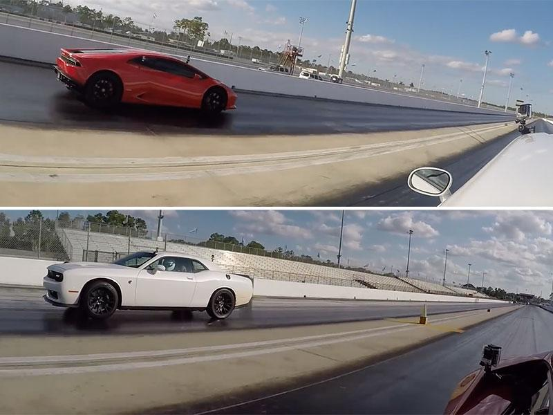 this 800 hp challenger hellcat vs lamborghini huracan drag race is insanely. Black Bedroom Furniture Sets. Home Design Ideas