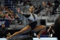 Jordan Chiles competes in the floor exercise during the U.S. Gymnastics Championships, Sunday, June 6, 2021, in Fort Worth, Texas. (AP Photo/Tony Gutierrez)