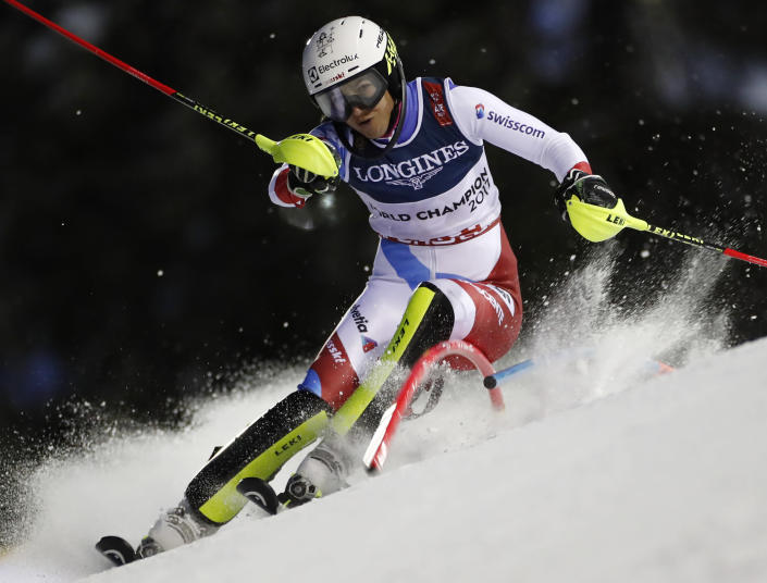 Wendy Holdener speeds down the course during the slalom portion of the women's combined, at the alpine ski World Championships in Are, Sweden, Friday, Feb. 8, 2019. (AP Photo/Gabriele Facciotti)