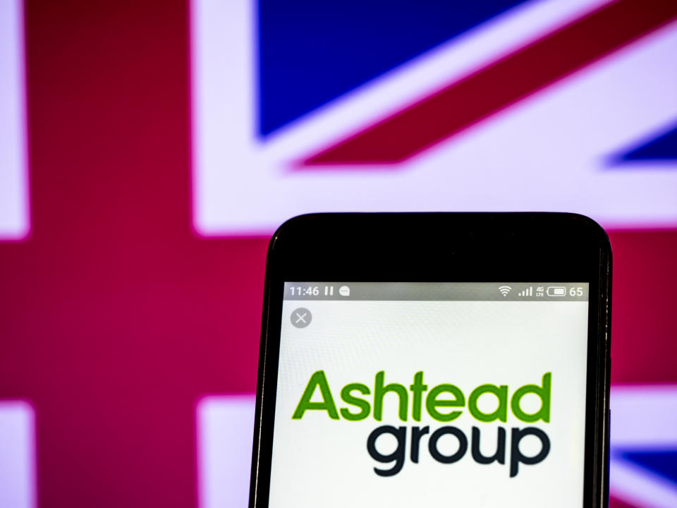 UKRAINE - 2019/02/28:  In this photo illustration, the Ashtead Group plc logo seen displayed on a smartphone. (Photo Illustration by Igor Golovniov/SOPA Images/LightRocket via Getty Images)