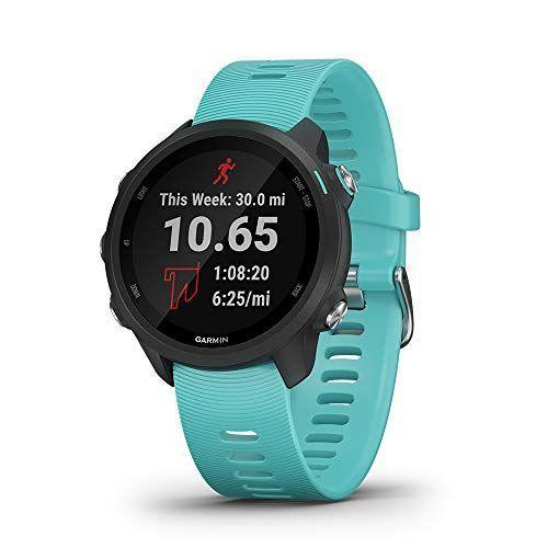 """<p><strong>Garmin </strong></p><p>amazon.com</p><p><strong>$349.99</strong></p><p><a href=""""https://www.amazon.com/dp/B07QKWVMQY?tag=syn-yahoo-20&ascsubtag=%5Bartid%7C2140.g.24270365%5Bsrc%7Cyahoo-us"""" rel=""""nofollow noopener"""" target=""""_blank"""" data-ylk=""""slk:Shop Now"""" class=""""link rapid-noclick-resp"""">Shop Now</a></p><p>Garmin makes some of the best <a href=""""https://www.womenshealthmag.com/fitness/g24738992/best-fitness-trackers/"""" rel=""""nofollow noopener"""" target=""""_blank"""" data-ylk=""""slk:running watches"""" class=""""link rapid-noclick-resp"""">running watches</a> around, and the Forerunner 245 is no exception. This sturdy GPS watch provides all kinds of useful data for runners, like ground contact time, stride length, vertical ratio, and so much more. Plus, this latest model features music storage directly on the watch, so she can leave her phone at home and have her playlist available on-the-go. </p>"""