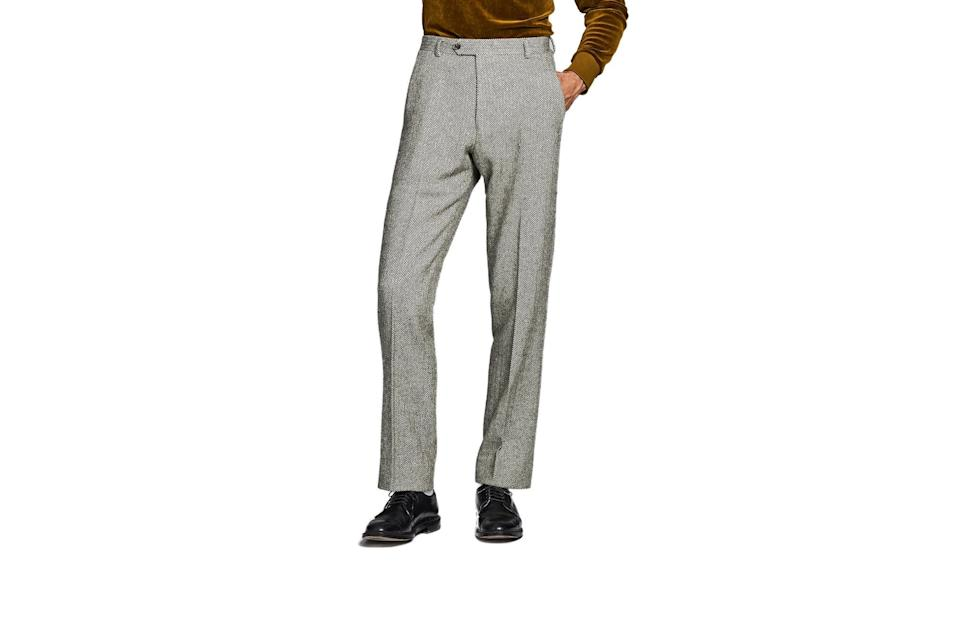 "$348, Todd Snyder. <a href=""https://www.toddsnyder.com/collections/sale/products/herringbone-sack-trouser-brown"" rel=""nofollow noopener"" target=""_blank"" data-ylk=""slk:Get it now!"" class=""link rapid-noclick-resp"">Get it now!</a>"